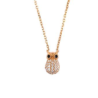 Latelita 925 Sterling Silver Animal Pendant Necklace Wise Owl Rose Gold Pink CZ
