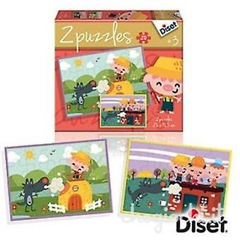 Diset Fairy tale puzzle 2x20 , The 3 little pigs (Toys , Boardgames , Puzzles)