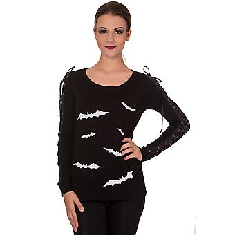 Banned - WHITE BATS - Womens  - Long Lace Sleeve Knitted Jumper