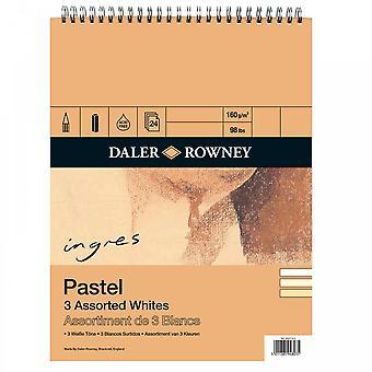 Daler Rowney Ingres Pastell 3 verschiedene weiße Spirale Pad 16 X 12
