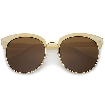 Oversize demi-trame Circle Lens plat féminine rond lunettes de soleil 58mm