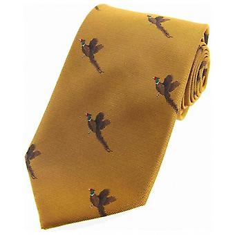David Van Hagen Flying Pheasants Woven Country Silk Tie - Gold