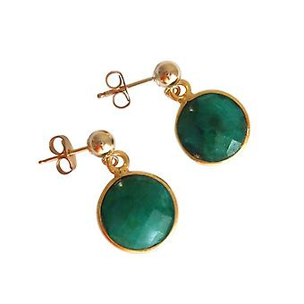 Emerald earrings emeralds Green gold plated