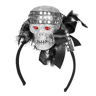 Halloween Glitter Skull on Headband with Feathers Fancy Dress Accessory