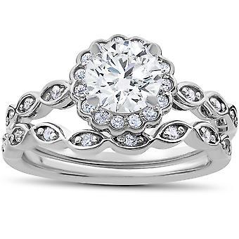 1 Carat D VS2 Enhanced Halo Diamond Engagement Ring Set Round Cut 14K White Gold