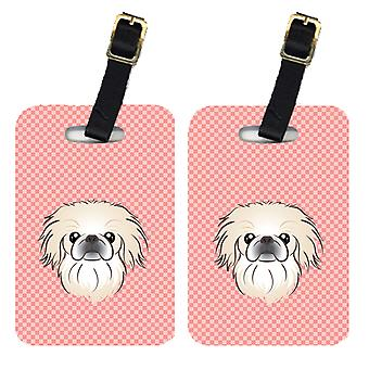 Carolines Treasures  BB1221BT Pair of Checkerboard Pink Pekingese Luggage Tags