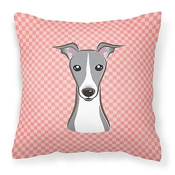 Checkerboard Pink Italian Greyhound Canvas Fabric Decorative Pillow