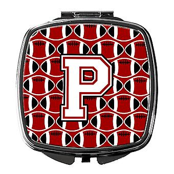 Letter P Football Cardinal and White Compact Mirror