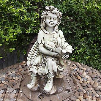 Solstice Sculptures Flower Fairy Sitting Tinted Stone Effect Statue