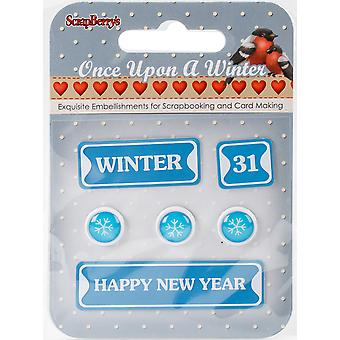 ScrapBerry's Once Upon A Winter Metal Words & Icons-#8: Winter, Happy New Year & Snowflakes 340995