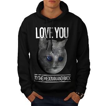 Moon Cute Adorable Cat Men BlackHoodie   Wellcoda