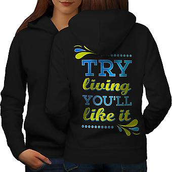 Living Like Joke Funny Women BlackHoodie Back | Wellcoda