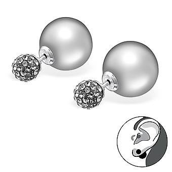 Double Ball - 925 Sterling Silver Ear jackets & double earrings