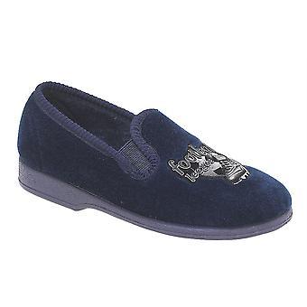 Boys Slip On Twin Gusset Fottballer Motif Sports Felt Slippers Shoes