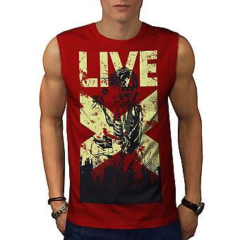 Cantar vivo calavera fantasía hombres RedSleeveless camiseta | Wellcoda