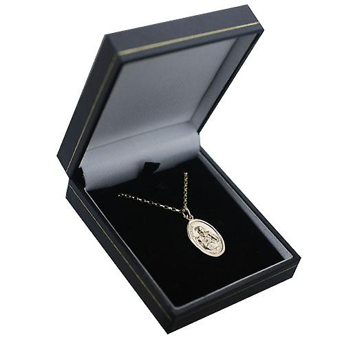 9ct Gold 21x15mm oval St Ann Pendant with a belcher Chain 16 inches Only Suitable for Children