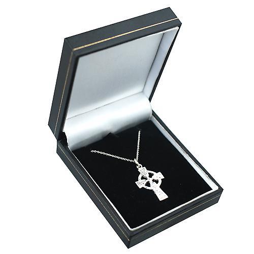 Silver 26x19mm embossed knot design Celtic Cross with a rolo Chain 16 inches Only Suitable for Children