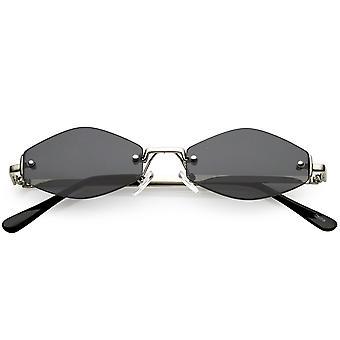 Ekstrem lille geometriske uindfattede solbriller Neutral farvet linse 52mm
