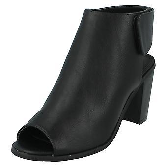 Ladies Spot On Peep Toe Shoe Boots F10504