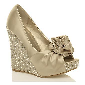 a99f604c6a0 Ajvani womens plattform hög klack kil Bröllopssvit Bröllop blomma peep toe skor  sandaler