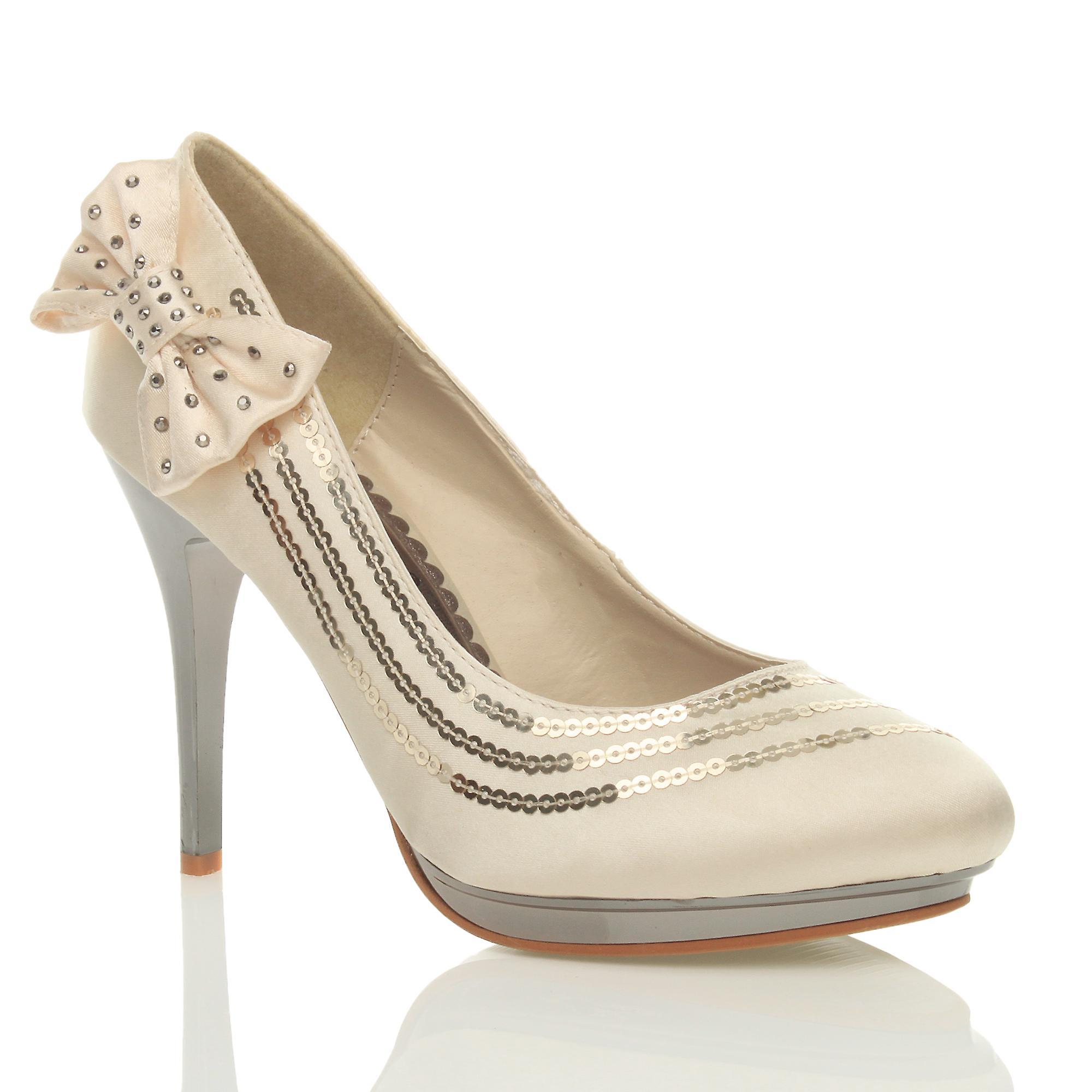 Ajvani womens high heel sequin bow diamante wedding evening party court shoes pumps