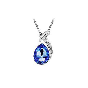 Womens Dark Blue Crystal Diamante Pendant Necklace Teardrop Stone