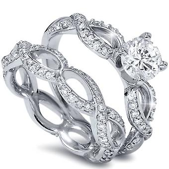 1 1 / 2ct diamante infinito eternità fidanzamento anello nuziale Set 14k oro bianco