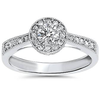 1/2ct Vintage Diamond Halo Engagement Ring 10K White Gold