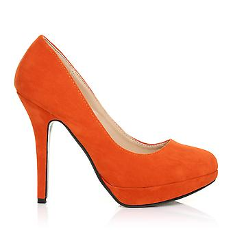 Eva Orange gamuza Stiletto tacón zapatos de plataforma de corte