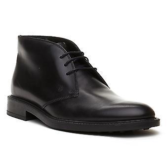 Tod's Men's Leather Chukka Desert Boots Shoes Black