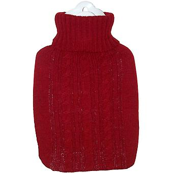 Hugo Frosch Hot Water Bottle With Luxury Knitted Cover Red 1.8L