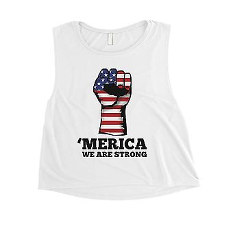 Merica We Strong Womens White Crop Tee Cute 4th Of July Outfit Gift