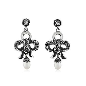 Gemondo Sterling Silver Chinese Freshwater Pearl and Marcasite Earrings