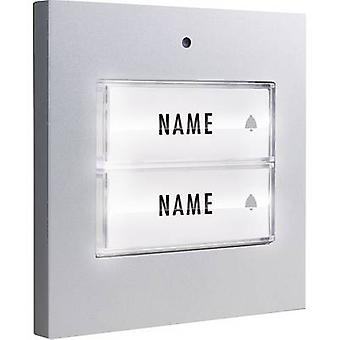 m-e modern-electronics 41049 Bell button backlit, with nameplate Semi-detached Silver 8-24 V AC/DC/1 A