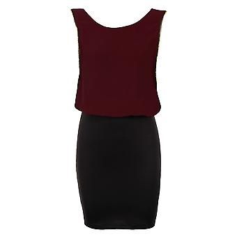 Ladies ren Chiffon gull kanter svart strekk Bodycon kvinners kort kjole