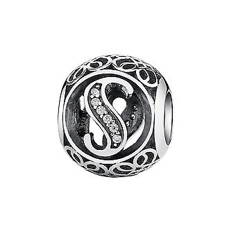 Sterling silver charm with zirconia stones letter S