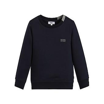 Boss Hugo Boss Boys Navy Crew Neck Sweatshirt