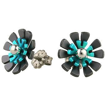 Negro de titanio Ti2 atrás diez pétalos flor pendientes del perno prisionero - Martín pescador azul