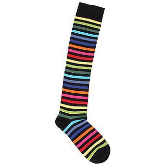 MySocks Thin Striped Knee High Socks - Dark Rainbow