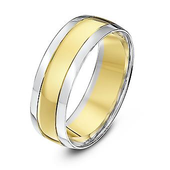 Star Wedding Rings 9ct White & Yellow Gold Court Shape Grooved 7mm Wedding Ring