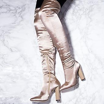 Spylovebuy VAGAS Pointed Toe Block Heel Thigh Boots - Beige Satin Style Stretch