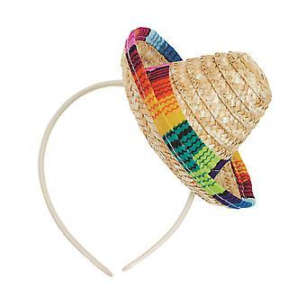 Sombrero de palha Mini no Headband