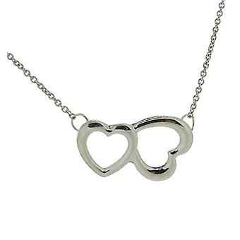 The Olivia Collection Ladies Silvertone Double Heart 18