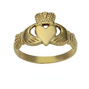 9ct Gold 10mm ladies Claddagh Ring Size J