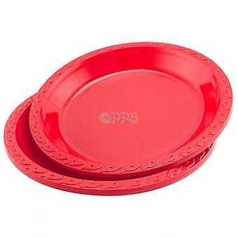 Pack of 6 Plates Plastic Round Red 26cm Disposable Party Picnic Plates