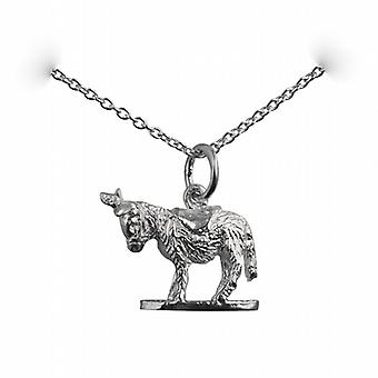 Silver 14x17mm solid Donkey Pendant with a rolo Chain 14 inches Only Suitable for Children