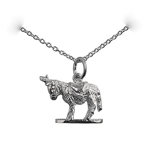 Silver 14x17mm solid Donkey Pendant with a rolo chain