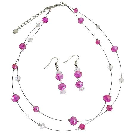 Wedding Jewelry Bridesmaid Hot Pink Necklace with Dangling Earrings
