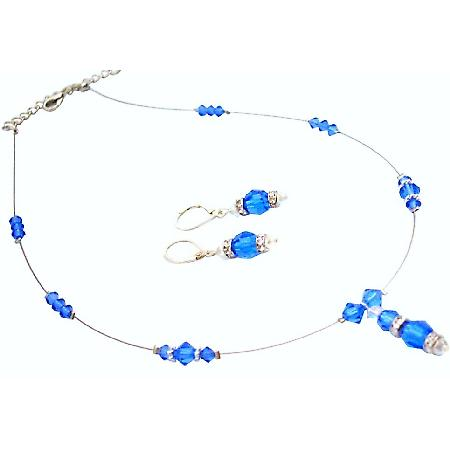 Eternal Love Swarovski Sapphire Crystals Necklace Earrings Set