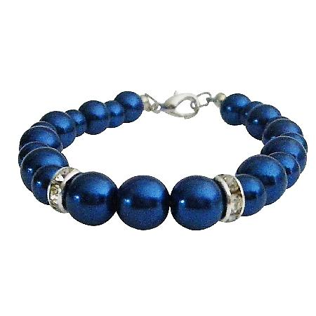 Any Occasion Fashion Young Girls Gift Dark Blue Pearls Bracelet